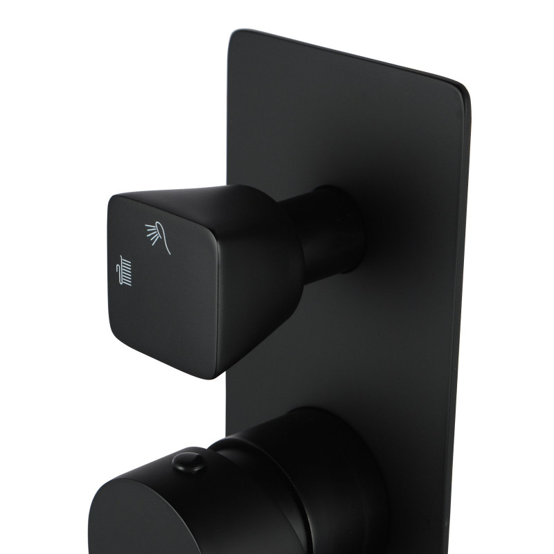 Bathroom Solid Brass Black Bath/Shower Wall Mixer with Diverter Wall Mounted FA0165B