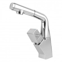 Brass Chrome 360° Swivel Pull Out Basin Mixer Tap Vanity Tap Adjustable Height