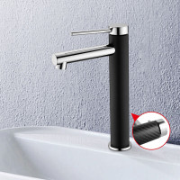 Round Brass Black & Chrome Tall Basin Mixer Vanity Tap Carbon Fiber Surface