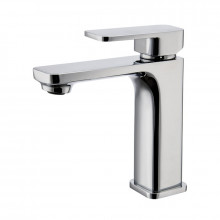 Bathroom Soft Square Solid Brass Chrome Basin Mixer Tap Vanity Tap