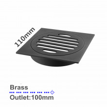 110x110mm Square Black Brass Floor Waste Outlet 100mm Drain