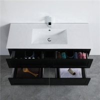1200mm Wall Hung PVC Vanity with Matt Black Finish Single / Double Bowl Cabinet ONLY for Bathroom