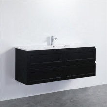1500mm Wall Hung PVC Vanity with Matt Black Finish Single / Double Bowls Cabinet ONLY for Bathroom