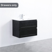 750mm Wall Hung PVC Vanity with Matt Black Finish Shaker Style Cabinet ONLY for Bathroom