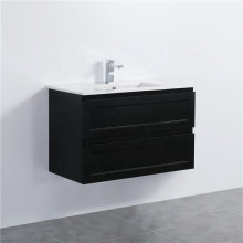 900mm Wall Hung PVC Vanity with Matt Black Finish Shaker Style Cabinet ONLY for Bathroom