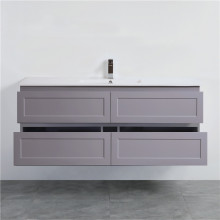 1500mm Wall Hung PVC Vanity Matt Grey Finish Single / Double Bowls Drawers Cabinet ONLY for Bathroom