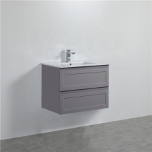750mm Wall Hung PVC Vanity Matt Grey Finish Shaker Style Drawers Cabinet ONLY for Bathroom