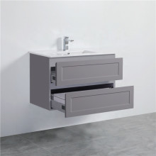 900mm Wall Hung PVC Vanity Matt Grey Finish Shaker Style Drawers Cabinet ONLY for Bathroom