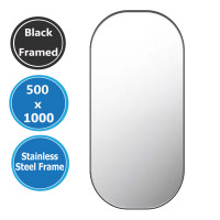 500x1000x35mm Rounded Rectangle Black Framed Wall Mirror Vertical or Horizontal