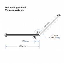Assist Grab Rail 870*700mm Left Hand Bar Assist Angle Ambulant Accessories Special Needs Stainless Steel 304