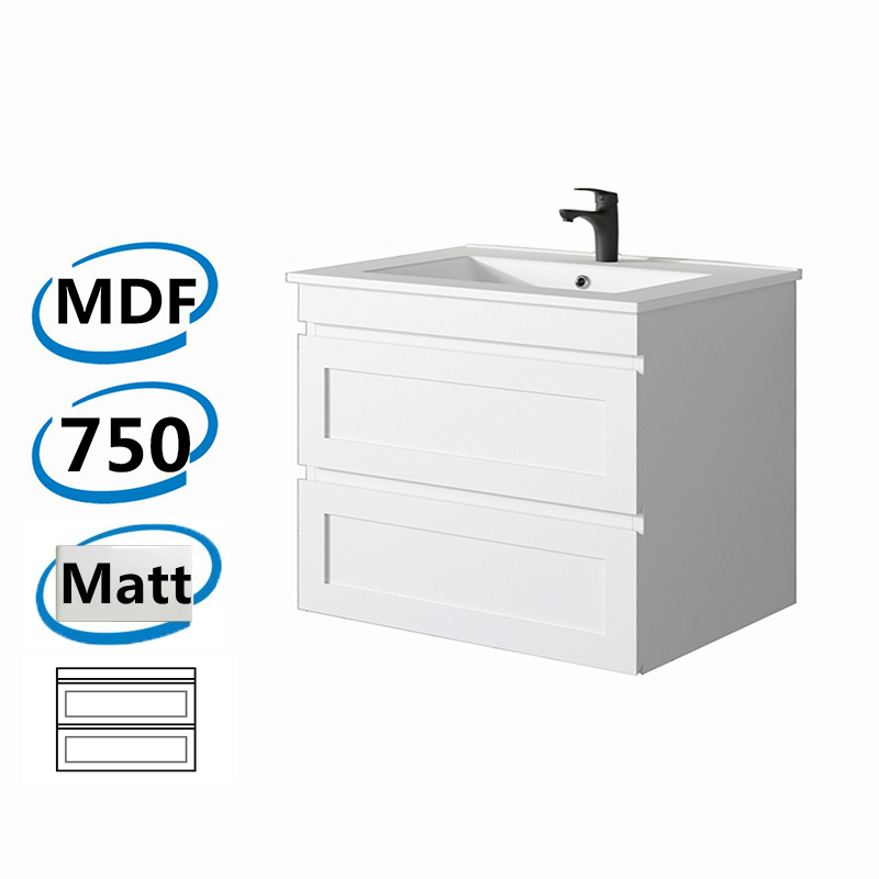 735x450x550mm Hawaii Wall Hung Bathroom Floating Vanity MATT WHITE Shaker Style 2 Drawers Cabinet ONLY&Ceramic/Poly Top Available
