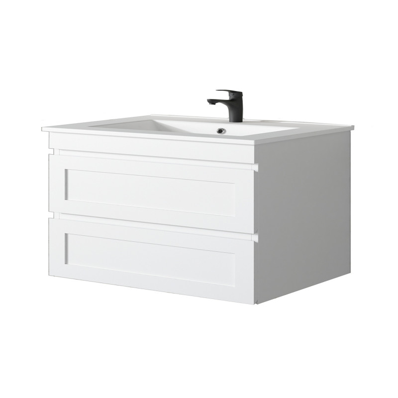 882x450x550mm Hawaii Wall Hung Bathroom Floating Vanity MATT WHITE Shaker Style 2 Drawers Cabinet ONLY&Ceramic/Poly Top Available