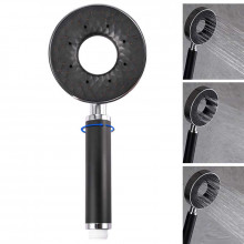 Round Chrome & Black ABS 3 Functions Handheld Shower Head Only Hollow Design