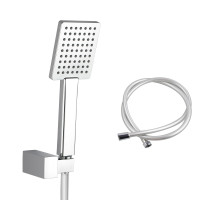 Bathroom Square Chrome Handheld Shower with Holder & 1.5m PVC Hose