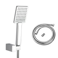 Bathroom Square Chrome Handheld Shower with Holder & 1.5m Flexible Hose