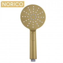 Norico Round Brushed Yellow Gold ABS 3 Functions Handheld Shower Only