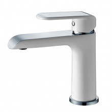 Solid Brass White & Chrome Basin Mixer Tap for Vanity and Sink