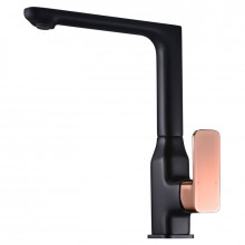 Seto 360° Swivel Solid Brass Matt Black & Rose Gold Handle Kitchen Sink Mixer Tap