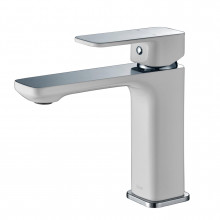 Seto Solid Brass White & Chrome Basin Mixer Tap for Vanity and Sink
