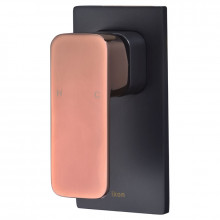 Seto Solid Brass Matt Black & Rose Gold Handle Shower/Bath Wall Mixer