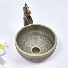 360x360x140mm Round Porcelain Basin Stripe Pattern