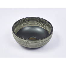 360x360x140mm Round Porcelain Basin Matt Black with Stripe Pattern