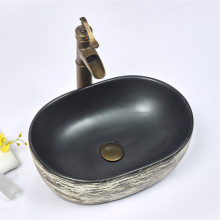 475x340x130mm Oval Black Interior Porcelain Basin