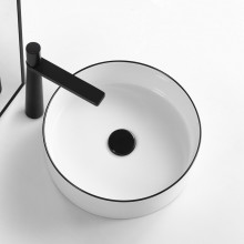360mm Above Counter Ceramic Basin Gloss White With Black Rim Round for Bathroom