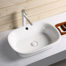 550x390x155mm Above Counter Ceramic Basin Gloss White Special Shape for Bathroom