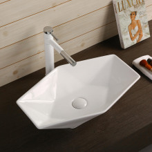 565x365x125mm Above Counter Ceramic Basin Gloss White Special Shape for Bathroom