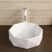420x420x130mm Above Counter Ceramic Basin Gloss White Special Shape for Bathroom