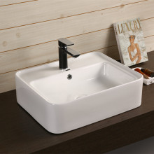 530x430x155mm Rectangle Gloss White Ceramic Above Counter Basin With Overflow Hole