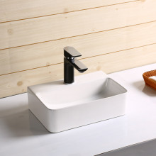 365x255x110mm Rectangle Gloss White Ceramic Above Counter Basin With Overflow Hole