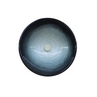 420x420x145mm Above Counter Basin Round Bathroom Tempered Glass Antique Vintage Wash Art Basin
