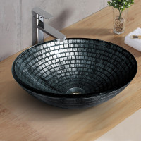 420x420x145mm Above Counter Tempered Glass Basin Round Bathroom Antique Vintage Wash Art Basin