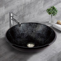 420x420x145mm Glass Art Basin Round Above Counter
