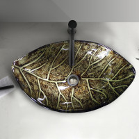 590x380x145mm Above Counter Glass Art Basin Special Leaf Shape Bathroom Antique Vintage Wash Basin
