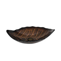 550x350x125mm Above Counter Glass Art Basin Special Leaf Shape Bathroom Antique Vintage Wash Basin