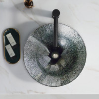 450x450x145mm Above Counter Basin Round Bathroom Tempered Glass Antique Vintage Wash Art Basin