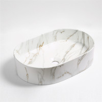 500x340x120mm Bathroom Oval Above Counter Wash Basin Matt Carrara Finish Ceramic