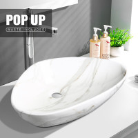 590x390x135mm Triangle Gloss Marble Carrara Bathroom Above Counter Wash Ceramic Basin