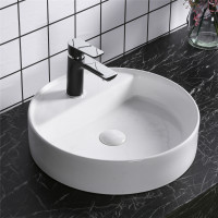 450x450x105mm Above Counter Basin Gloss White Bathroom Round Ceramic Wash Basin With Tap Hole