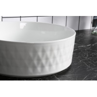 360x360x120mm Above Counter Basin Gloss White Bathroom Round Ceramic Wash Basin Lattice Pattern