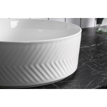 360x360x120mm Above Counter Basin Gloss White Bathroom Round Ceramic Wash Basin Diagonal Pattern