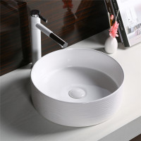 400x400x130mm Above Counter Basin Gloss White Bathroom Round Ceramic Wash Basin Stripe Pattern
