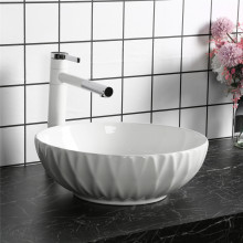 400x400x130mm Above Counter Basin Gloss White Bathroom Round Ceramic Wash Basin Diagonal Pattern