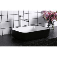500x400x135mm Above Counter Basin Gloss White & Black Bathroom Rectangle Ceramic Wash Basin