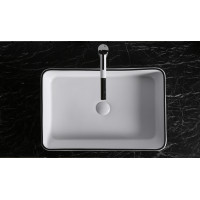 610x410x120mm Above Counter Basin Gloss White Black Line Bathroom Rectangle Ceramic Wash Basin