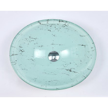 480x390x140mm Tempered Glass Oval Basin Double Layer