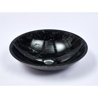 480x390x140mm Gloss Black Double Layer Glass Oval Basin
